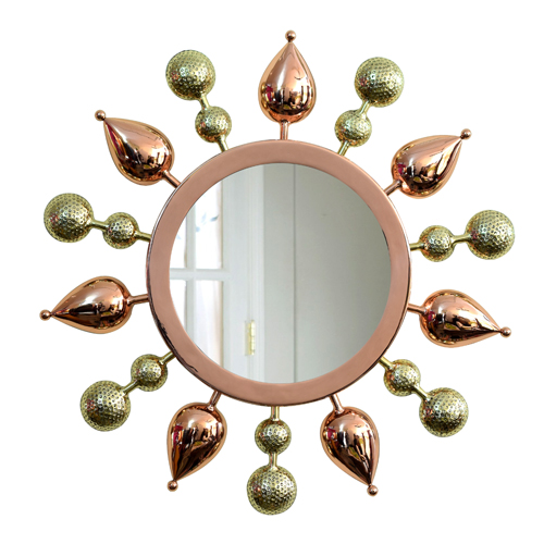 Tulsi Mirror -Copper with Gold - By sahil & sarthak
