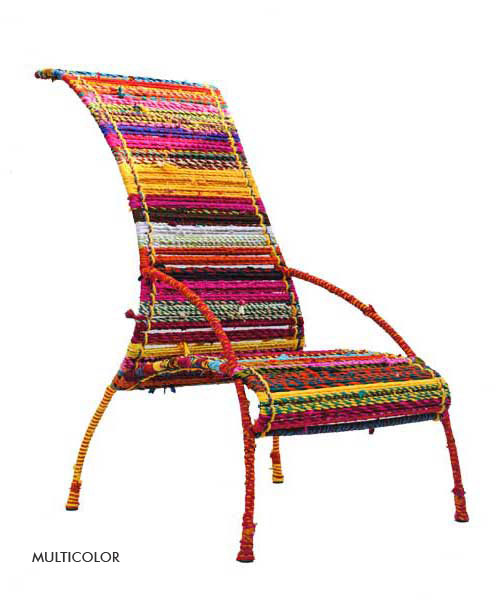 Katran Collection Chair Colorful Multicolor Woven Ropes & Knitting by Sahil Sarthak