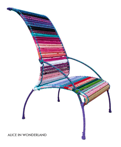 Katran Collection Chair Colorful Multicolor Woven Ropes & Knitting by Sahil Sarthak High back