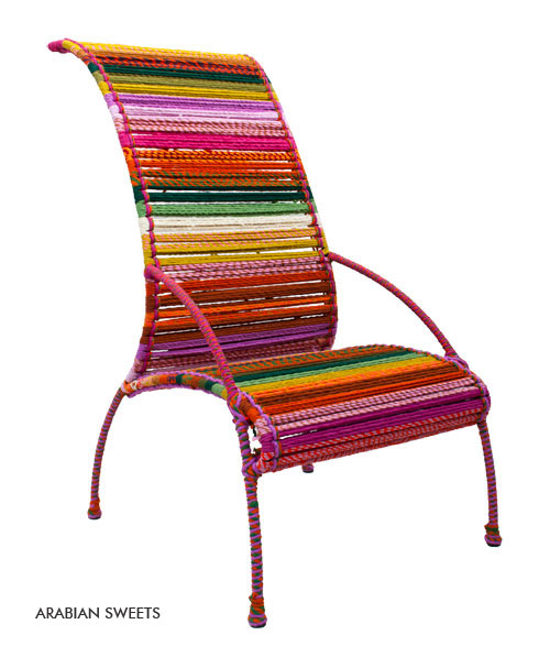 katran Chair Colorful Multocolor Woven Ropes Collection Sahil Sarthak High back