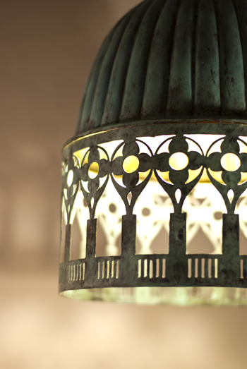 Venetto Lamp In Green Patina by Sahil & Sarthak