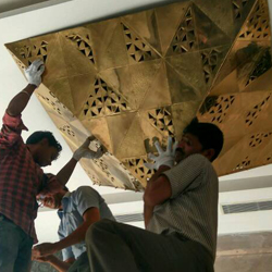 making of The Pyramid of the Sun for Tulip Star Jaipur designed by Sahil & Sarthak